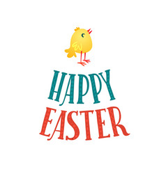 Happy easter greeting card lettering and chicken vector