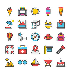hotel and travel colored icons set 4 vector image vector image