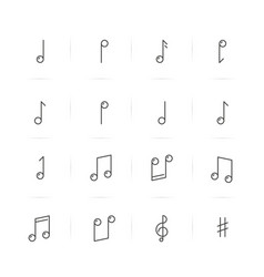 icons set of music notes in thin line style vector image vector image