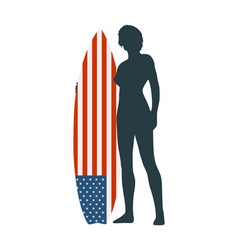 lady surfer vector image