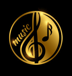 luxury music logo design - golden shiny musical vector image