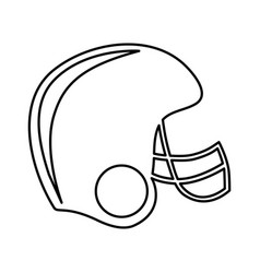monochrome contour of american football helmet vector image