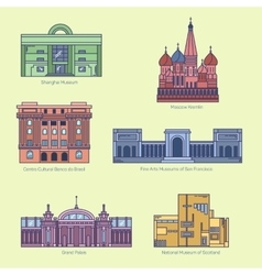 Monuments thin line icons vector