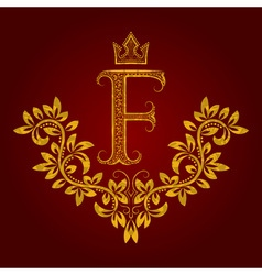 Patterned golden letter f monogram in vintage vector