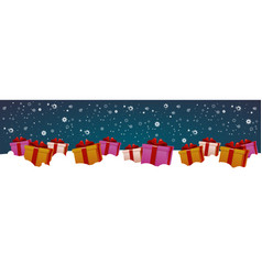 present boxes in snow winter holidays decoration vector image