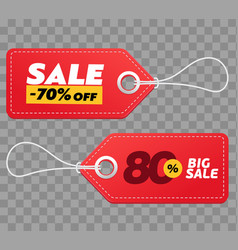 Realistic discount red tags isolated on checkered vector