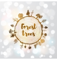 Saw cut tree trunk and forest trees vector image