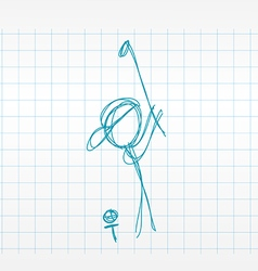 Sketch line drawing golfer vector