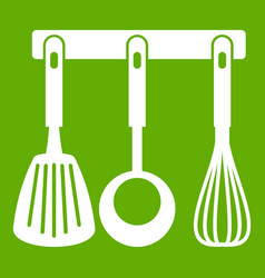 spatula ladle and whisk kitchen tools icon green vector image