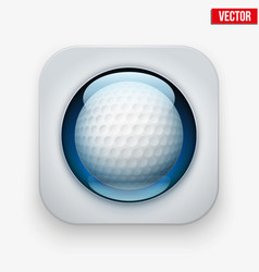 Sports button with ball under glass for website or vector image vector image