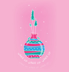 spring card with glass bottle and spikelets hand vector image vector image
