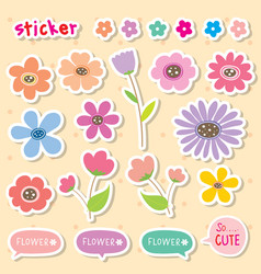 sticker flower cartoon cute color icon vector image