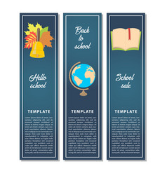 template design vertical school promo offer cards vector image