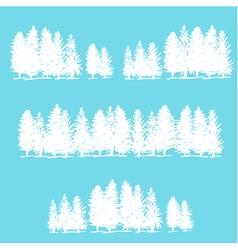 Three borders made of pine trees vector