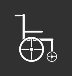 White icon on black background medical wheelchair vector