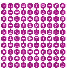 100 team icons hexagon violet vector