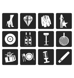 Black luxury party and reception icons vector