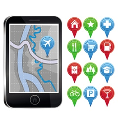 mobile phone with gps map and pointers with icons vector image