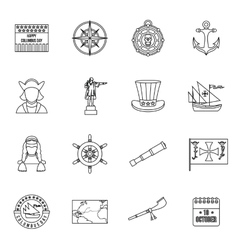 Columbus day icons set outline style vector