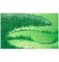 Green christmas winter forest vector
