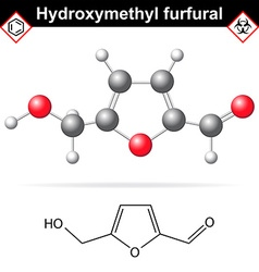 Hydroxymethylfurfural chemical structure and model vector image