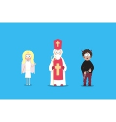 Saint Nicholas with angel and devil Cartoon vector image