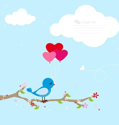 Blue bird with balloons vector