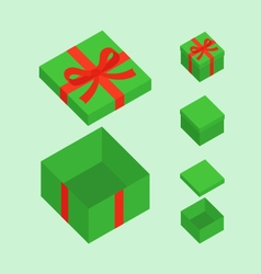 Green christmas box vector