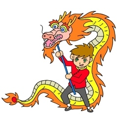 Chinese new year celebration with dragon dance vector