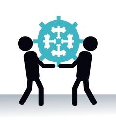 men hold up gear teamwork pictogram vector image