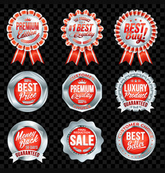 Set of excellent quality red badges with silver vector