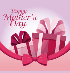 greeting happy mothers day gift present ribbon vector image