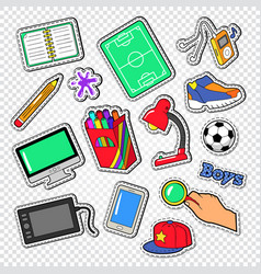 Boys doodle with football computer and telephone vector