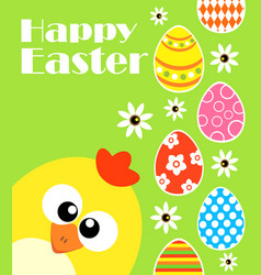 Happy easter background card with funny chicken vector