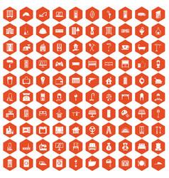 100 comfortable house icons hexagon orange vector