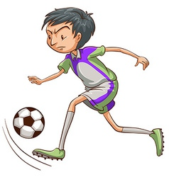 A soccer player catching the ball vector
