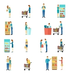 Buyers flat icon set vector