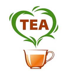 Logo cup of tea and green heart vector