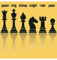 Chess pieces silhouettes with reflection vector
