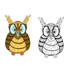 Cartoon colorful and outline eagle owl vector