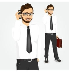 Modern hipster businessman talking on the phone vector
