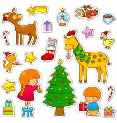 Christmas cartoon collection vector