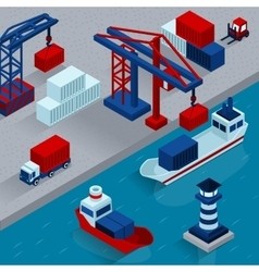 Seaport cargo loading isometric concept vector
