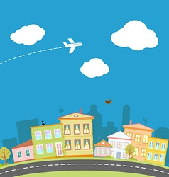 Cartoon city with houses and streets vector image