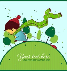 Boy walking vector image