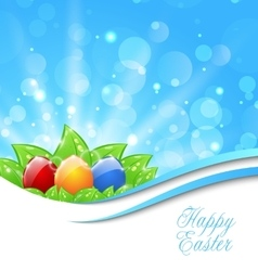 Spring background with easter colorful eggs vector