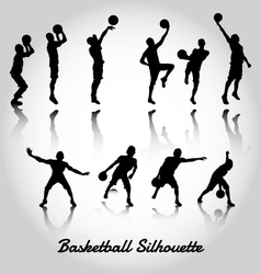 Attack and deffense basketbal silhouette vector
