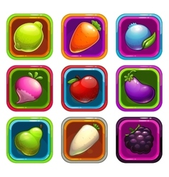 Cartoon app icons with fruits and vegetables vector