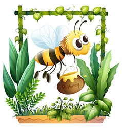 A bee with a honey vector image vector image