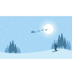 At night train santa christmas scenery vector